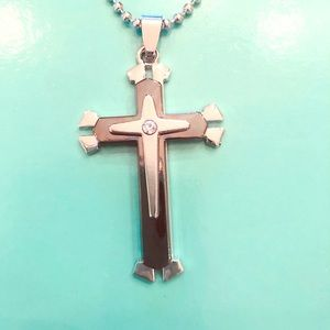 Other - Stainless Steel on Black Crucifix Necklace Unisex